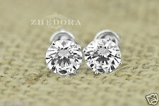 3.0 CT Round Cut Solitaire Stud Earrings in Solid 14k White Gold Screw Back