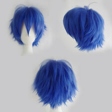 Anime Blue Green White Short Hair Wigs Women Men Cosplay Party Full Wig Thick AB