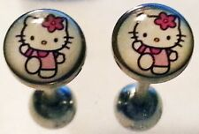 "White Hello Kitty 14G 5/8"" Stainless Steel Tongue Ring - 1 piece"