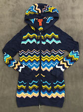 NEW MISSONI FOR TARGET LONG KNIT CHEVRON ZIP FRONT HOODED CARDIGAN SWEATER SZ L