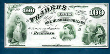 USA TRADERS BANK, RICHMOND VA.  NICE 100 DOLLARS (1860,s)