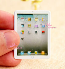 Dollhouse Miniature 1:12 Toy Metal Big Screen White Mini Laptop Length 3.9cm