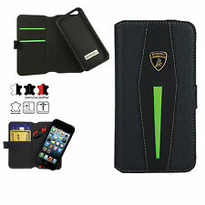 LAMBORGHINI LEATHER+CARBON FIBER IPHONE 6 PLUS AVENTADOR D5 BOOK CASE COVER GREE
