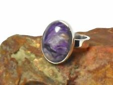 CHAROITE   Sterling  Silver  925  Gemstone  RING   -  Size : P  -  Gift  boxed