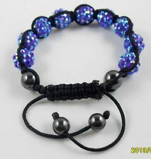 Shamballa 12mm Disco Resin crystal Ball Beads Braided Adjustable Bracelet