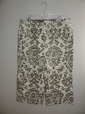 PLUS-TOMMY-HILIFIGER-WOMAN-SZ-18-CREAM/HUNTER-GRN-IKAT-PRNT-WIDE-LEG-CROP-CAPRIS