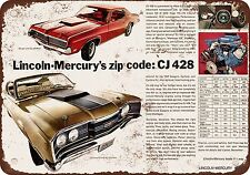 "7"" x 10"" Metal Sign - 1969 Mercury CJ 428 Engine and Ram Air - Vintage Look Repr"