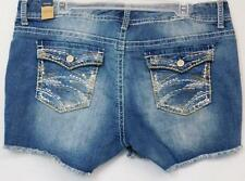 MAURICES BLUE LIGHT WASH SEQUIN FLAP POCKET WOMEN'S PLUS SIZE DENIM SHORTS 18RE