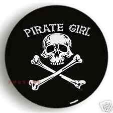"""PIRATE SPARE TIRE COVER 26""""-28.7"""" white girl skull on wrangler black zw487601p"""