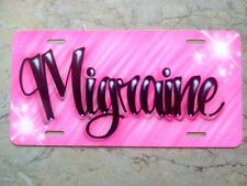 Pink Scribble Airbrush Custom License Plate Car Tag Personalized w/ Your Name