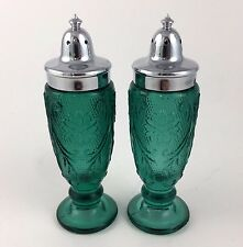 Tiara Glass Sandwich Spruce Green Salt and Pepper Shakers Indiana Set of 2
