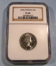 1964 CANADA NGC PL66 QUARTER 25c PROOF LIKE SILVER PL MS 66