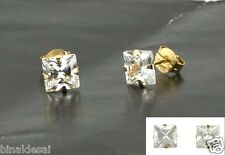 9ct Gold 5mm Square Princess Cut CLEAR WHITE CZ STUDS EARRINGS X'Mas GIFT BOX BN