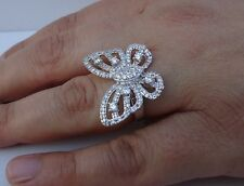 925 STERLING SILVER BUTTERFLY ELEGANT DESIGNERS RING/W 3 cts DIAMOND SZ 5-9