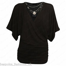 Ladies Women's Wrap Over V Neck Stretchy Batwing Top & Necklace Plus Size 8-26