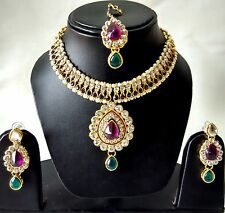 Indian Traditional Kundan Jewelry Set Necklace and Earrings Gold Plated