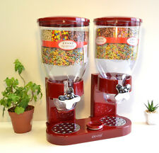 NEW Zevro Dual Dry Food Nut Cereal Candy Indispensable Dispenser Canister RED
