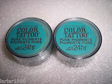 "Maybelline Color Tatoo Pure Pigment 24 hr ""NEVER FADE JADE"" Eye Shadow  Lot of 2"