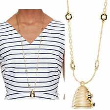 12K Gold Plated Crystal Glass Queen Bee Beehive Locket Pandant Necklace XL1588