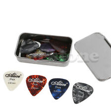 24x Acoustic Electric Guitar Pick Plectrums Assorted Colour Thickness +Metal Box