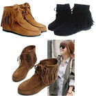 Fashion Women Lady Ankle Boots Fringe Tassels Matte Moccasins Suede Flats Shoes