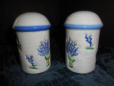 salt and pepper shakers WHITE MUSHROOM SHAPED WITH BLUE FLOWERS EUC