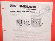 1957 1958 UNITED MOTORS DELCO GM GARAGE DOOR CONTROL SERVICE MANUAL MODEL RP