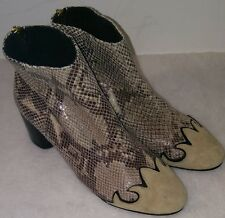 Free People Adele Snakeskin Suede Ankle Boots Size 38 Eu  8 US