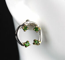 Fine Art Natural Chrome Diopside .925 Sterling Silver Stud Earrings