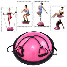 "23"" Yoga Ball Balance Trainer Yoga Fitness Strength Exercise Workout w/Pump Rose"