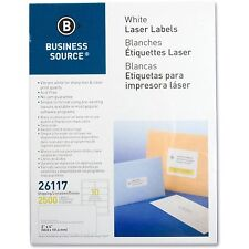 "Business Source Mailing Labels Shipping Laser 2""x4"" 2500/PK White 26117"