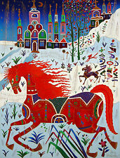 """Yuri Gorbachev Original  Masterpiece  Painting """"Red Horse"""" oil on canvas, gold,"""