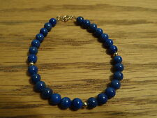14kt Yellow Gold and Lapis Bracelet 7.5 inch +