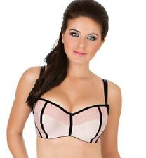Parfait by  Affinitas Charlotte Balconette Bra 36F Peach & Black NEW 6931 Retro