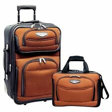 """Travel Select Orange Amsterdam 2-Piece Carry-on 21"""" Rolling Luggage Tote Bag Set"""