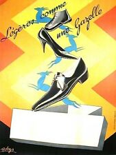 Original Vintage Poster Gazelle Shoes Robys 1935 France