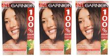 3x Garnier 100% colore Colorazione Permanenete Crema Colorante 401 Intenso