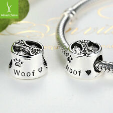 Spring Silver Cute Dog Footprint & Bone European Baby Charms Fit Beads Bracelets