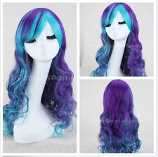 Long Curly Synthetic Cosplay Women Costume Wig Anime Wigs Lolita Blue Mix Purple