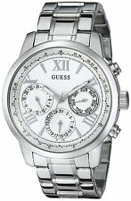 GUESS Women's U0330L3 Sporty Silver-Tone Stainless Steel Watch with Multi-fun...