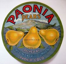 "Attractive Vintage Crate Label Titled ""Paonia Pears"" From Colorado w/ Rockies *"