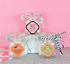 96 Personalized Mini Glass Candy Jar Swing Top Lid Bridal Shower Wedding Favor