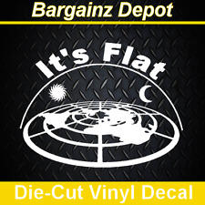 ..Vinyl Decal .. IT'S FLAT .  Sticker No STARS 3D Looking Flat Earth Map Decal