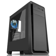 CiT Dark Soul Black Midi Tower Case Windowed Blue LED Gaming PC Case