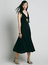 127880 New $88 Free People Woo Wee Cutout Tie Knot Black Endless Dress XS