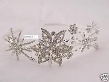Flor Diamante Cristal Tiara Cabello Diadema Bridal Prom Bridesmaids