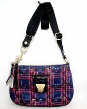 COACH Red & Blue Tartan Plaid Fabric & Patent Leather Crossbody Shoulder Bag