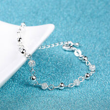Women 925 Sterling Silver Crystal Ball Chain Bangle Cuff Charm Bracelet Jewelry