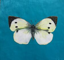 TEX EX ORIGINAL BRITISH BUTTERFLY CABBAGE WHITE VELVET CUSHION PANEL TURQUOISE