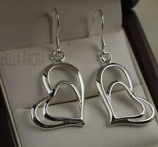 Gorgeous Sterling Silver 925 Double Heart Dangle Drop Earrings - New - 60